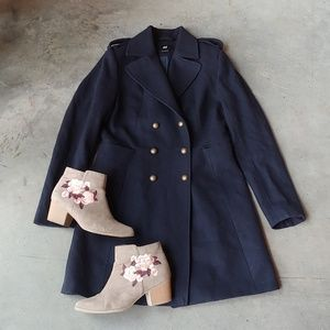 H&M Navy Top Coat Pea Coat Long Jacket 8